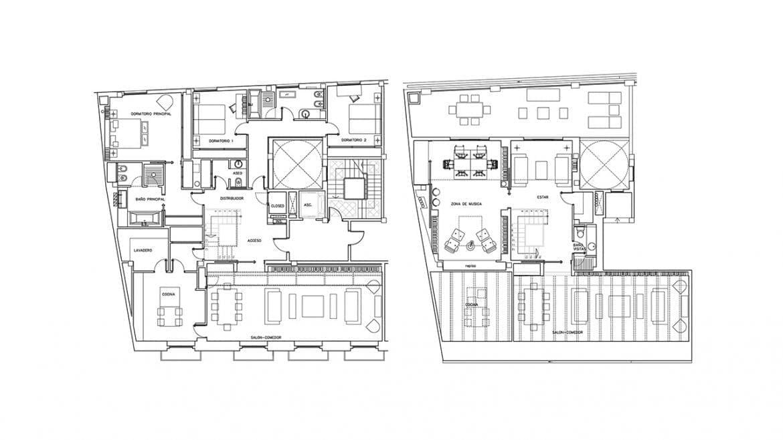 El elemento vertebrador de la vivienda ático duplex se formaliza en la biblioteca de doble altura que enlaza la zona de Estar con el estudio de planta alta. La bibiloteca aporta al espacio de doble altura una funcionalidad que justifica su configuracion.