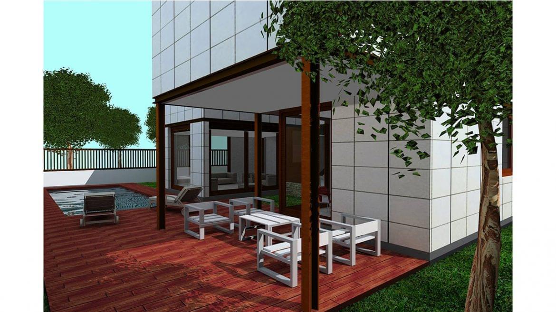 Ubicada próxima al Monasterio de el Puig, en una parcela de reducidas dimensiones, el Proyecto desarrolla el amplio programa definido por los propietarios integrando una piscina a la vivienda. Compuesta en tres plantas, se recurre al patio inglés para adecuar la planta sótano a usos habitables.